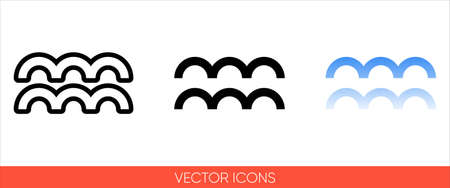 Weather symbol horizontal wavy lines sign icon of 3 types color, black and white, outline.Isolated vector sign symbol.
