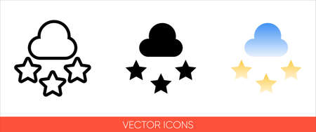 Weather symbol mostly cloudy night or cloud with stars sign icon of 3 types color, black and white, outline.Isolated vector sign symbol.