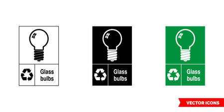 Glass bulbs recycling sign icon of 3 types color, black and white, outline.Isolated vector sign symbol.