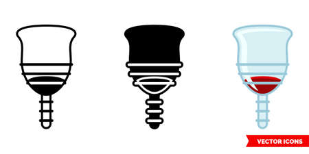 Menstrual cup with blood icon of 3 types color, black and white, outline.Isolated vector sign symbol.