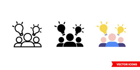 Brainstorm idea icon of 3 types color, black and white, outline.Isolated vector sign symbol.