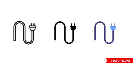 Electrical plug icon of 3 types color, black and white, outline.Isolated vector sign symbol.