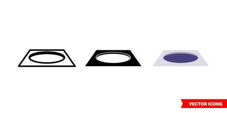 Hole icon of 3 types color, black and white, outline.Isolated vector sign symbol.
