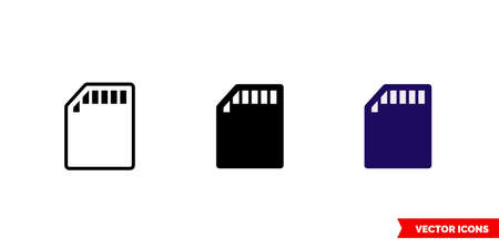 SD card icon of 3 types color, black and white, outline.Isolated vector sign symbol. Иллюстрация