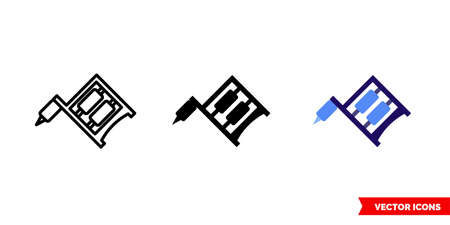 Tattoo machine icon of 3 types color, black and white, outline.Isolated vector sign symbol.