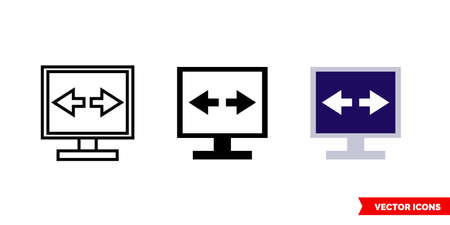 VPN icon of 3 types color, black and white, outline.Isolated vector sign symbol.