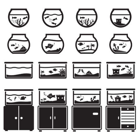 Aquarium vector icon set, black isolated on white background, bowl and square, on cupboard - Set of vector illustrations design, various aquariums and fishbowls for home decoration
