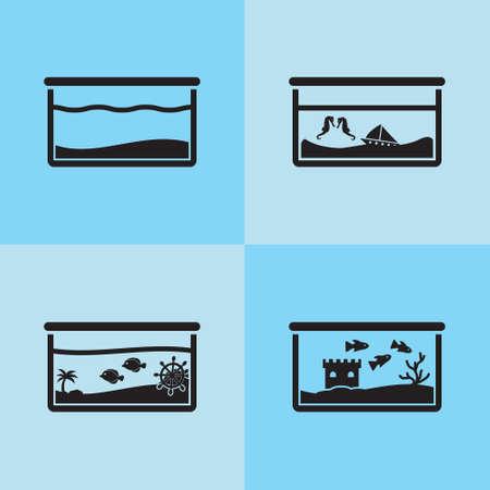 Aquarium for fish vector icon set black on blue tiles