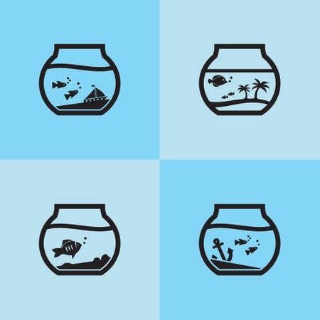 Aquarium fish bowl vector icon set black on blue tiles