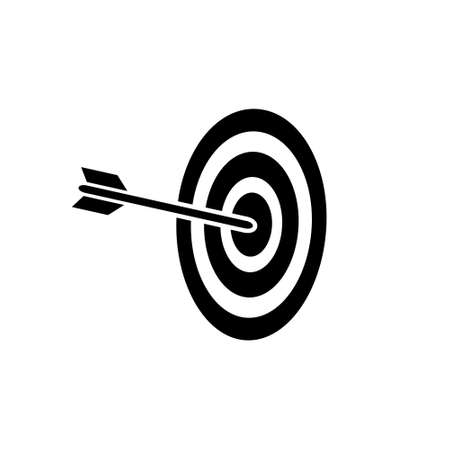 Archery arrow in target, bulls eye vector icon simple design