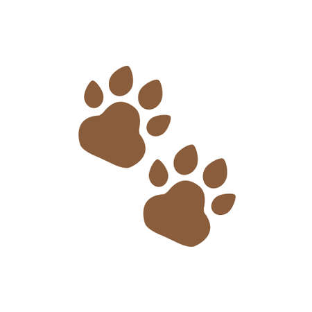 Animal tracks or prints, animal paws vector icon brown