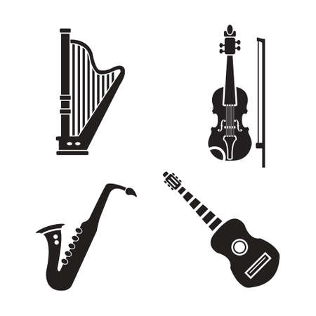 Musical instruments vector icon set, harp, violin, guitar and saxophone