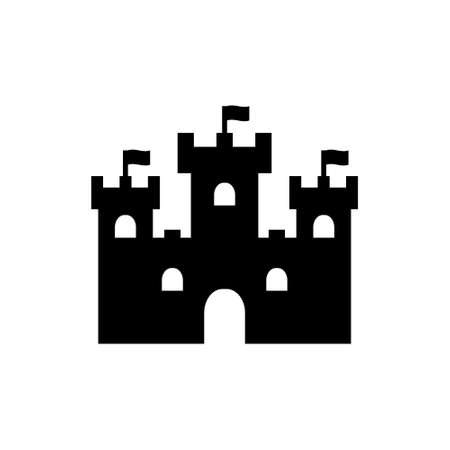 Castle with towers, sand castle vector icon black