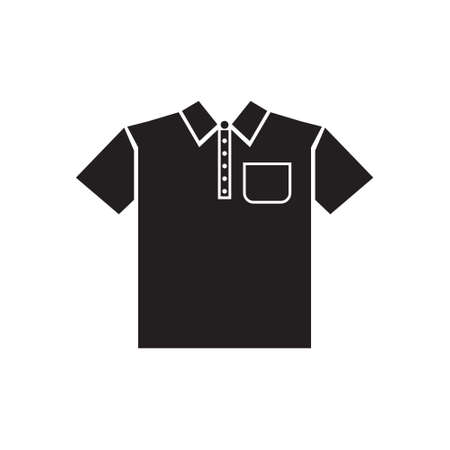 T-shirt, shirt with pocket and collar vector icon black