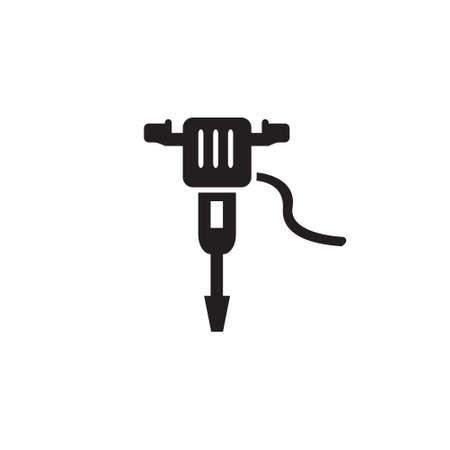 Jackhammer drill, pneumatic drill construction vector icon