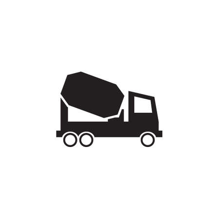 Concrete mixer truck vector icon Stock Illustratie