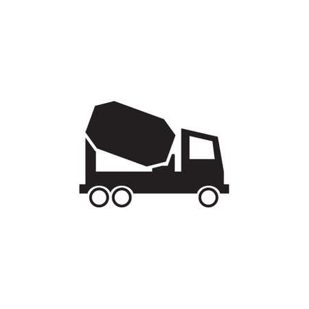 Concrete mixer truck vector icon Illustration