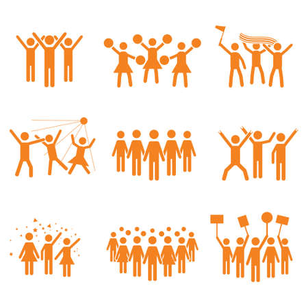 Crowd vector icon set design, illustrations of various groups of people - Vector icon set of groups of people in a club, sports match, cheerleaders, protest, strike, celebrations, concert and other