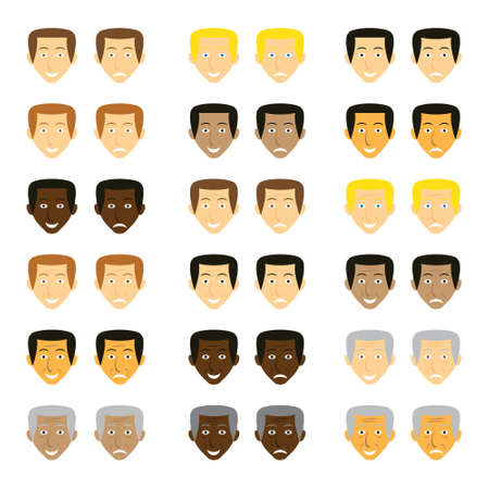Cartoon character male faces vector icon set