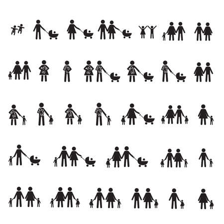 Family, parents and children vector icon set Ilustração