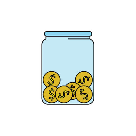 Money, coins in a jar, donation, tip or savings vector icon