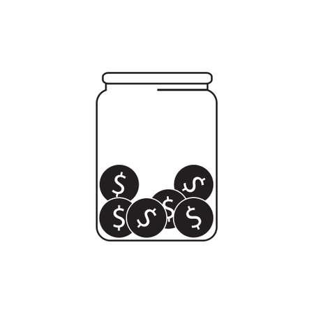 Soldi, monete in un barattolo, donazione, mancia o icona di vettore di risparmio