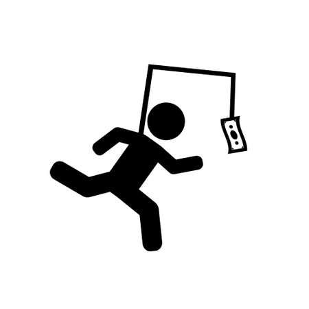 Running after money, business, greed vector icon