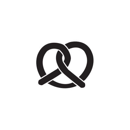 Pretzel vector icon pastry bakery icon