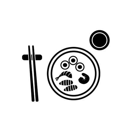 Sushi with salmon, scampi and chopsticks on plate vector icon Illustration