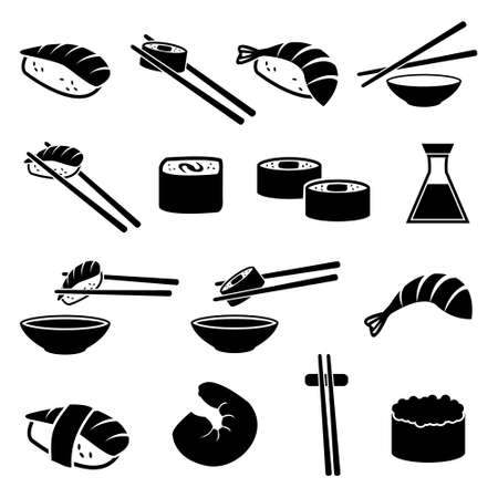 Sushi restaurant vector icon set isolated on white background. icons such as rolls, chopsticks, soy sauce and other Illustration