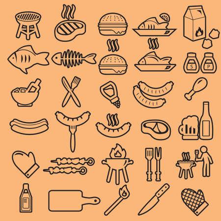 Barbecue summer vector icon set