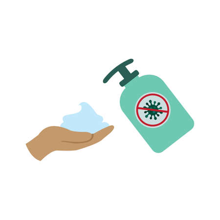 Antibacterial, antiviral soap, hand holding foam, soap or lotion. hygiene vector icon