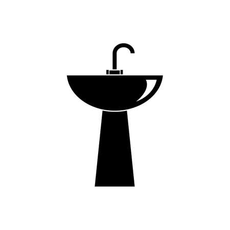 Kitchen or bathroom sink vector icon, washbowl icon