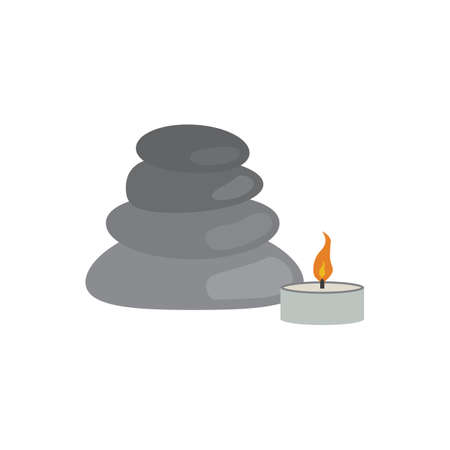 Spa center, relaxation, rocks or pebbles and candle vector icon design Stock Illustratie