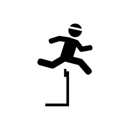 Athlete running hurdles vector icon Illustration