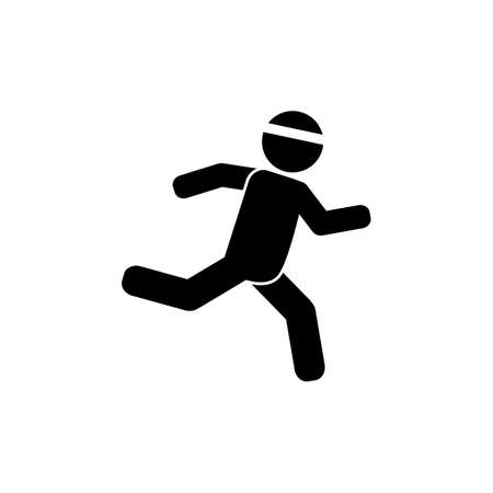 Running, sprinting athlete vector icon Vectores