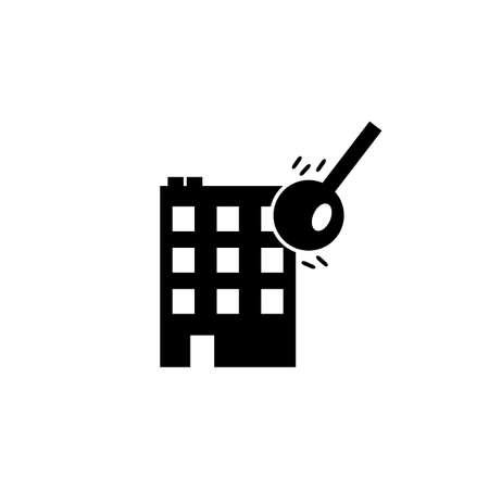 Wrecking ball house demolition vector icon