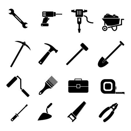 Work industry construction equipment tools vector icon set, pliers, hammer, toolbox, screwdriver and other icons