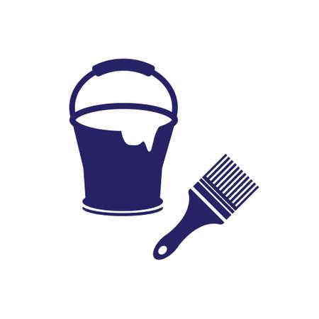 Paint bucket and brush vector icon Illusztráció