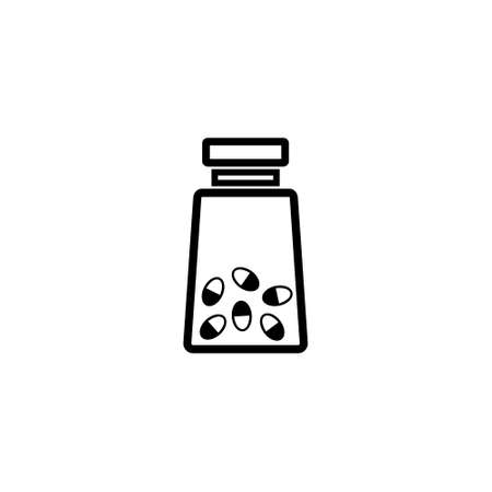 Medicine bottle with pills vector icon