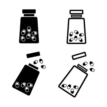 Medicine bottle with pills vector icon set