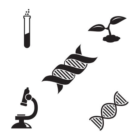 Genetics research vector icon set, DNA molecule, plant, microscope and test tube icons