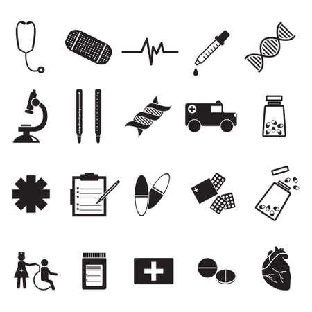 Medical, medicine hospital vector icon set
