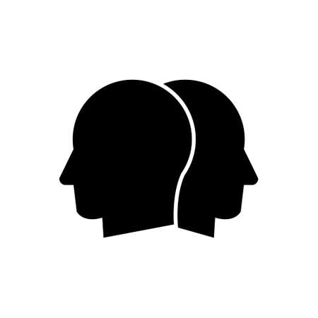 Man head thinking two faces two sides vector icon Illustration