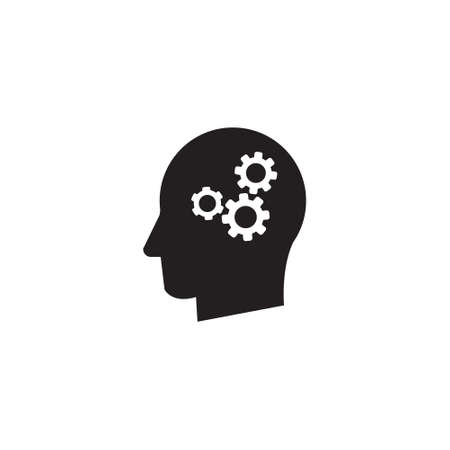 Man head mind with cogs thinking vector icon