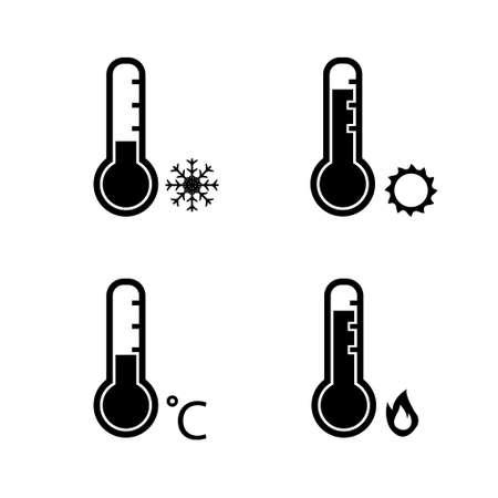 Thermometer cold freezing temperature and hot temperature vector icon set Illusztráció