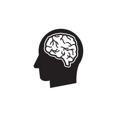 Man head thinking brain silhouette vector icon Illusztráció