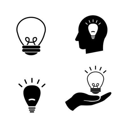 Light bulb illumination vector icon set