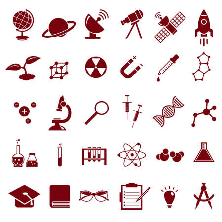 Science vector icon set, education chemistry, physics, biology icons like solar panel, microscope, syringe, DNA molecule and others