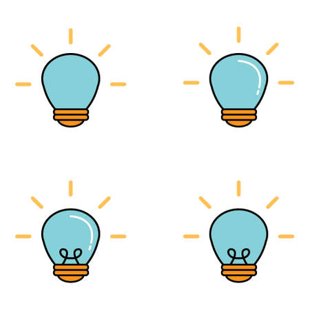 Light bulb illumination vector icon set cartoon design Stock fotó - 144711645